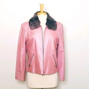 Wilson's Maxima Pink Leather Motorcycle Jacket